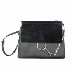 Faye Medium and Suede Black Leather Shoulder Bag